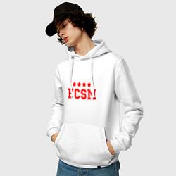 Толстовка-худи хлопковая мужская FCSM Club цвета белый — фото 2