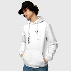 Толстовка-худи хлопковая мужская Renault Style цвета белый — фото 2