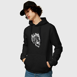 Толстовка-худи хлопковая мужская The Offspring: Dead Skull цвета черный — фото 2