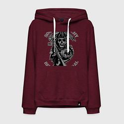 Толстовка-худи хлопковая мужская Sons of Anarchy: Redwood Original цвета меланж-бордовый — фото 1