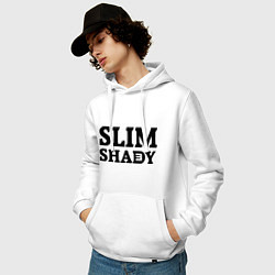 Толстовка-худи хлопковая мужская Slim Shady: Big E цвета белый — фото 2