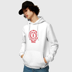 Толстовка-худи хлопковая мужская Slipknot Penragram цвета белый — фото 2