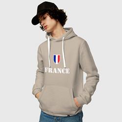Толстовка-худи хлопковая мужская France цвета миндальный — фото 2
