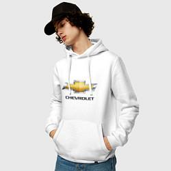 Толстовка-худи хлопковая мужская Chevrolet логотип цвета белый — фото 2