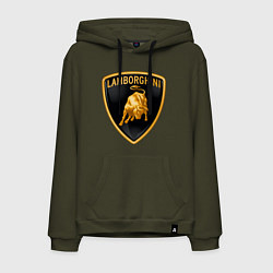 Толстовка-худи хлопковая мужская Lamborghini logo цвета хаки — фото 1