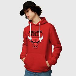 Толстовка-худи хлопковая мужская Chicago Bulls цвета красный — фото 2