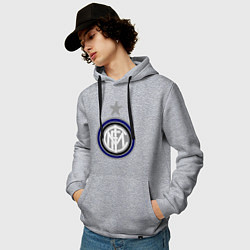 Толстовка-худи хлопковая мужская Inter FC цвета меланж — фото 2