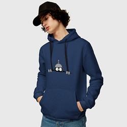 Толстовка-худи хлопковая мужская Бэндер подглядывает цвета тёмно-синий — фото 2