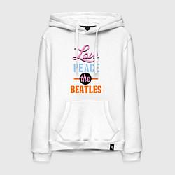 Толстовка-худи хлопковая мужская Love peace the Beatles цвета белый — фото 1