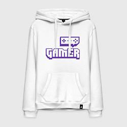 Толстовка-худи хлопковая мужская Twitch Gamer цвета белый — фото 1