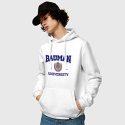 Толстовка-худи хлопковая мужская BAUMAN University цвета белый — фото 2
