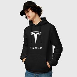 Толстовка-худи хлопковая мужская TESLA Mobile цвета черный — фото 2