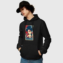 Толстовка-худи хлопковая мужская Леви Аккерман цвета черный — фото 2