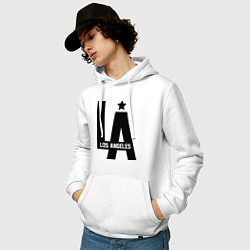 Толстовка-худи хлопковая мужская Los Angeles Star цвета белый — фото 2