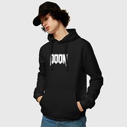Толстовка-худи хлопковая мужская DOOM цвета черный — фото 2