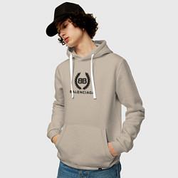Толстовка-худи хлопковая мужская Balenciaga Fashion цвета миндальный — фото 2