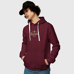 Толстовка-худи хлопковая мужская Барнаул цвета меланж-бордовый — фото 2