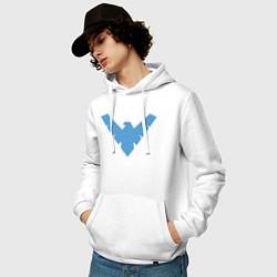 Толстовка-худи хлопковая мужская Nightwing цвета белый — фото 2