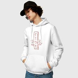 Толстовка-худи хлопковая мужская Кровосток цвета белый — фото 2