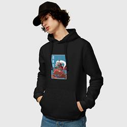 Толстовка-худи хлопковая мужская Джирайя цвета черный — фото 2