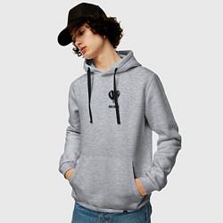 Толстовка-худи хлопковая мужская JUICE WRLD цвета меланж — фото 2