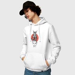 Толстовка-худи хлопковая мужская Каратель цвета белый — фото 2