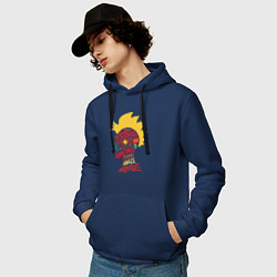 Толстовка-худи хлопковая мужская Капитан Марвел цвета тёмно-синий — фото 2