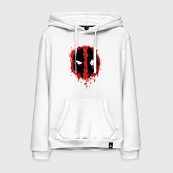 Толстовка-худи хлопковая мужская Deadpool logo цвета белый — фото 1