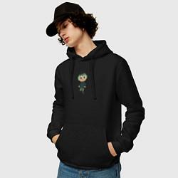 Толстовка-худи хлопковая мужская MARLOW CROSSING цвета черный — фото 2