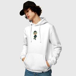 Толстовка-худи хлопковая мужская MARLOW CROSSING цвета белый — фото 2