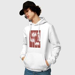 Толстовка-худи хлопковая мужская Призрачный цветок цвета белый — фото 2