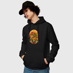 Толстовка-худи хлопковая мужская Растение-убийца цвета черный — фото 2