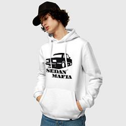 Толстовка-худи хлопковая мужская SEDAN MAFIA цвета белый — фото 2