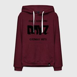 Толстовка-худи хлопковая мужская DayZ: Съел консерву цвета меланж-бордовый — фото 1