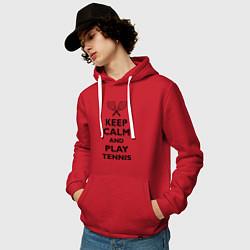 Толстовка-худи хлопковая мужская Keep Calm & Play tennis цвета красный — фото 2
