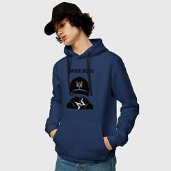 Толстовка-худи хлопковая мужская You will be Hacker цвета тёмно-синий — фото 2