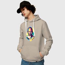 Толстовка-худи хлопковая мужская Steve Jobs Art цвета миндальный — фото 2