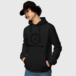 Толстовка-худи хлопковая мужская AMG цвета черный — фото 2