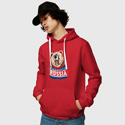 Толстовка-худи хлопковая мужская Made in Russia: медведь цвета красный — фото 2