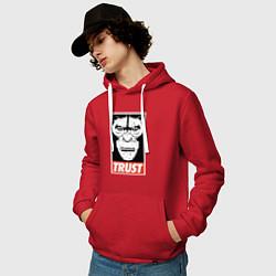 Толстовка-худи хлопковая мужская Верь цвета красный — фото 2