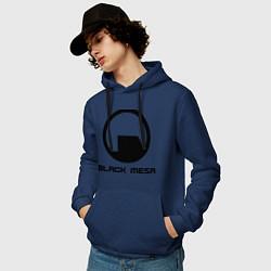 Толстовка-худи хлопковая мужская Black Mesa: Logo цвета тёмно-синий — фото 2