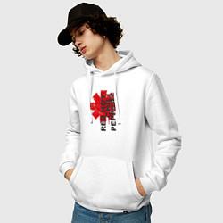 Толстовка-худи хлопковая мужская Red Hot Chili Peppers цвета белый — фото 2
