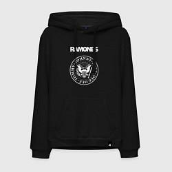 Толстовка-худи хлопковая мужская Ramones цвета черный — фото 1