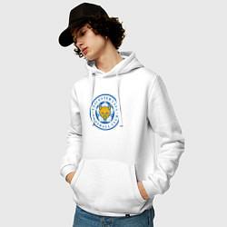 Толстовка-худи хлопковая мужская Leicester City FC цвета белый — фото 2
