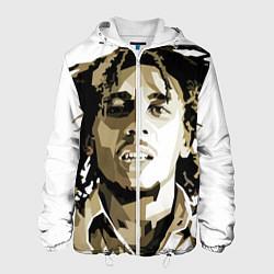 Куртка с капюшоном мужская Bob Marley: Mono цвета 3D-белый — фото 1