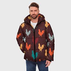 Куртка зимняя мужская Петух Символ 2017 года 4 цвета 3D-черный — фото 2