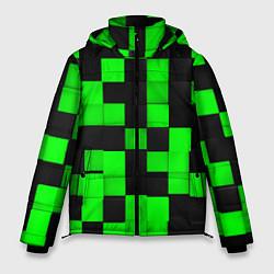 Куртка зимняя мужская ЗЕЛЕНЫЕ КУБИКИ цвета 3D-черный — фото 1