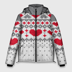 Куртка зимняя мужская Узор с сердечками цвета 3D-черный — фото 1