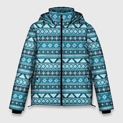 Куртка зимняя мужская Винтажный орнамент цвета 3D-черный — фото 1