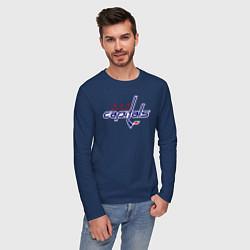 Лонгслив хлопковый мужской Washington Capitals цвета тёмно-синий — фото 2